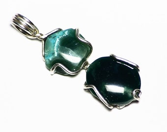 Gem Silica Chalcedony Pendant in Sterling Silver (6.65 carats) Unusual Green Gem Silica with Chrysocolla from Peru, Green Gem Jewelry Gift