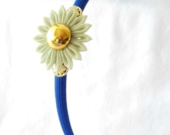 Unique Kanzashi Flower Headband in Royal Blue Sage Green and Gold