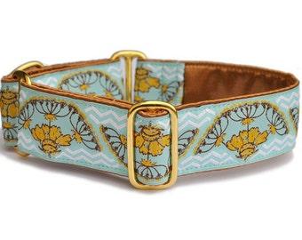 Martingale Collar or Buckle Dog Collar - Golden Yarrow Jacquard - 1.5 Inch