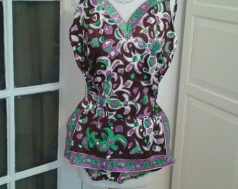 60s Roxanne Swimsuit, Bathing Suit, Psychedelic, Purple, Brown, Green, with Coverup, Size 36D