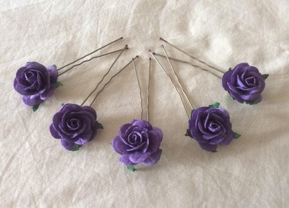 Hairpins x 5 Paper Roses. Dark Purple. Grape. Bridal.