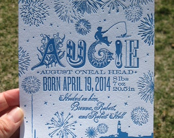 Fireworks at Night Spring Baby Letterpress Custom Birth Announcements