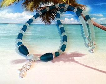 Mermaid teal seaglass beads beach necklace