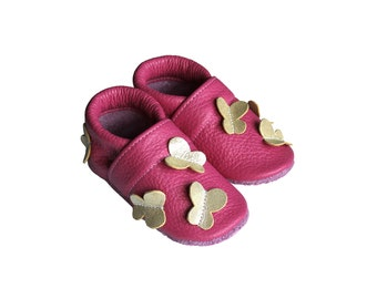 Leather Baby Booties, Baby Shoes, Butterfly Infant Newborn Nursery Children, Pink Butterfly
