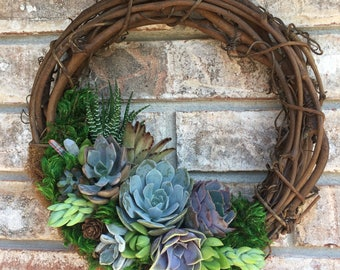"""10"""" Living Succulent Wreath (made-to-order)"""