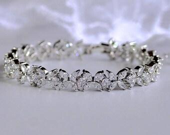 Bridal Bracelet, Crystal Wedding Bracelet, Tennis Bracelet, Bracelet de Mariée, JOANNA