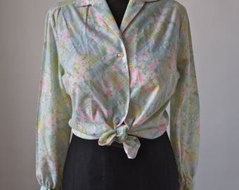 60's/70's Blouse Floral Lady Arrow Button Front Pastel and Neon Pink, Blue, Green Size M