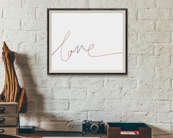 LOVE | Typographic Printable Art | Handwritten Type | Digital Print Download | 8 x 10