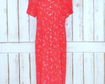 90s red floral button down maxi dress/short sleeve long red dress/peasant/grunge button front collar dress/16