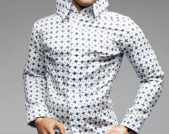 mc0365 White Blue Stylist Printed Slim Fit Shirt for 1/6 Figure Enterbay Hot Toys TTL Homme FR Ken