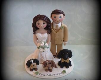 Wedding Cake Topper, Custom Cake Topper, Personalized, Polymer Clay, Bride and Groom, Three Pets, Wedding/Anniversary Keepsake