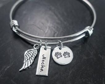 Pet Memorial Jewelry / Charm Bracelet / Wire Bangle / Pet Memorial Bracelet / Loss of Pet / Wire Bangle