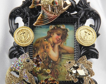 Beautiful Sparkly, Jeweled, Gold Rhinestones and Crystals, Sealife Themed, Ornate Black Picture Frame, All Occasion Gift
