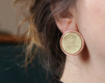 circle earrings, circle studs, large circle earrings, copper and brass jewellery, round earrings, round studs, minimal earrings