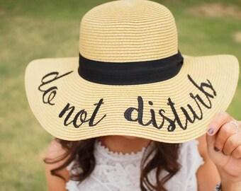 Do Not Disturb Embroidered Floppy Beach Hat - Sun Hat - Summer - Lake