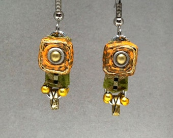 Paper jewelry - First anniversary gift - Orange / Green Chrome Earrings