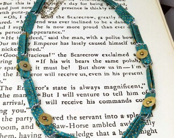 Published Paper.   Paper jewelry - First anniversary gift - Turquoise and gold necklace - Bohemian jewelry - Unique Finds - Summer 2017