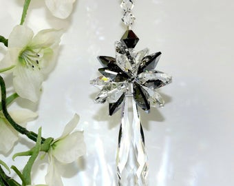 m/w Swarovski® crystal, 2 Size Octagons Silver Night Starburst on 50mm Club Pendulum Icicle SunCatcher Car Charm Ornament Pearl Place N More
