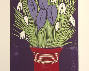 linocut, Spring, crocus, snowdrops, flowers, posy, red,purple, green, white, jug, still life, home interior, printmaking