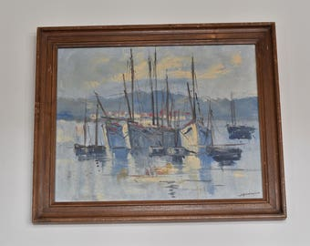 Sailboat painting, vintage sailboat painting, antique painting, antique sailboat painting, vintage painting, impressionist painting