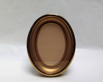 Vintage Small Brass Oval Picture Frame with Easel Back Curiosity Display Frame