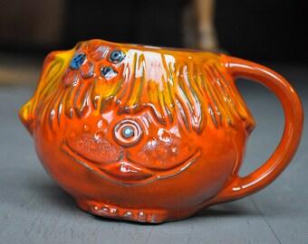 Vintage 1969 Pacific Stoneware Puppy or Dog Ceramic Mug Ceramic 1970 Orange Animal Pacific Northwest Funky Oregon Bennet Welsh