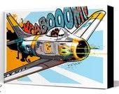 Airplane - F-86 Sabre - Canvas Art Print, Airplane Decor, Pop Art, fighter jet, Art Print, Air Force, Military Gift, Aviation, Pilot gift