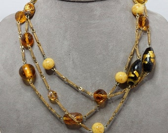 """LONG Strand Amber Foiled Art Glass Bead Vintage Necklace  54""""    NDB35"""