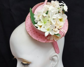 Pink tea cup fascinator with teaspoon and flowers gold polka dots teacup fascinator tea party hat mad hatter hat
