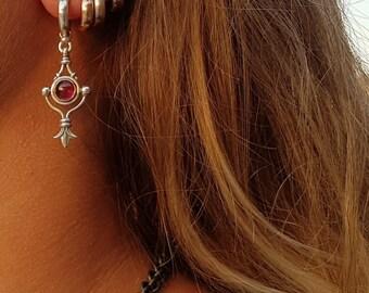 silver earrings dangle/ handmade dangle earrings/ women's dangle silver earrings/  garnet stone drop earrings /january birthday garnet stone