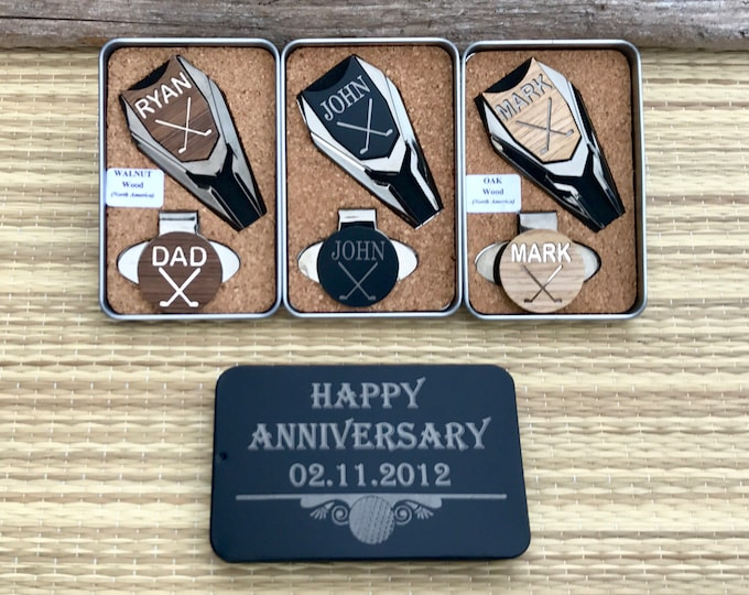 5th Wedding Anniversary Gift,Personalized Golf Ball Marker & Divot Tool,Custom Wood Anniversary Gift,Husband 5th wedding anniversary,For Men