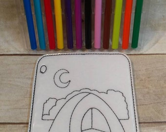 Camping, Coloring Picture, Coloring Page, Felt Coloring Page, Vinyl Coloring Page, kids Coloring Page, Dry Erase Coloring, Reusable coloring