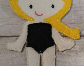 Felt Girl Doll, UnPaper Doll with Yellow Hair and black Underwear, Flat Doll, Felt Doll, Nonpaper Doll, Girl Doll, Dress Up Doll, Doll,