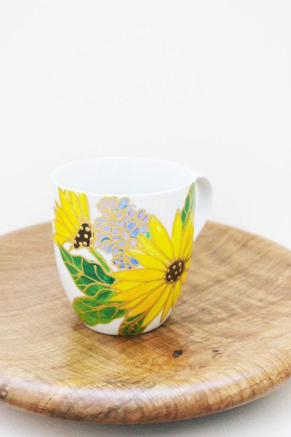 Hand Painted Sunflower Mug, Sunflower Mug Coffee Mug, Tea Mug, Painted Mug, Porcelain Mug, Farmhouse Kitchen, Country Kitchen