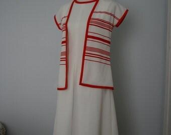 Vintage Dress / 60's Dress and Jacket Set / Two Piece Day Dress / Small / 1960's Mod, Sporty, Minimal / White, red / Sleeveless shift dress