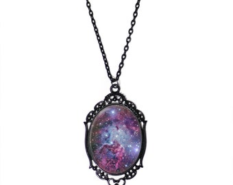 "Purple Galaxy Cameo Necklace with Black Filigree Frame on 18"" Chain"