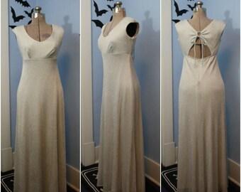 Beautiful Womens Vintage 1970s 1980s Silver Lurex Maxi Dress by Bari-Jay Modern Size Medium Retro White Witch Disco Glamour