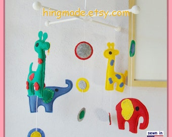 Baby Mobile, Elephant and Giraffe Mobile, Felt Mobile, Colorful Mobile, Polka Dot Mobile, Blue Green Red Yellow,Custom Mobile