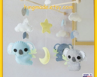 Baby Mobile, Koala Mobile, Australian Animals Mobile, Nursery Mobile, Baby Boy Koala Mobile, Blue and Gray