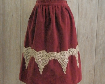 Red velvet and gold Skirt - Gothic Lolita - Otome, Vintage Style, Ready to ship