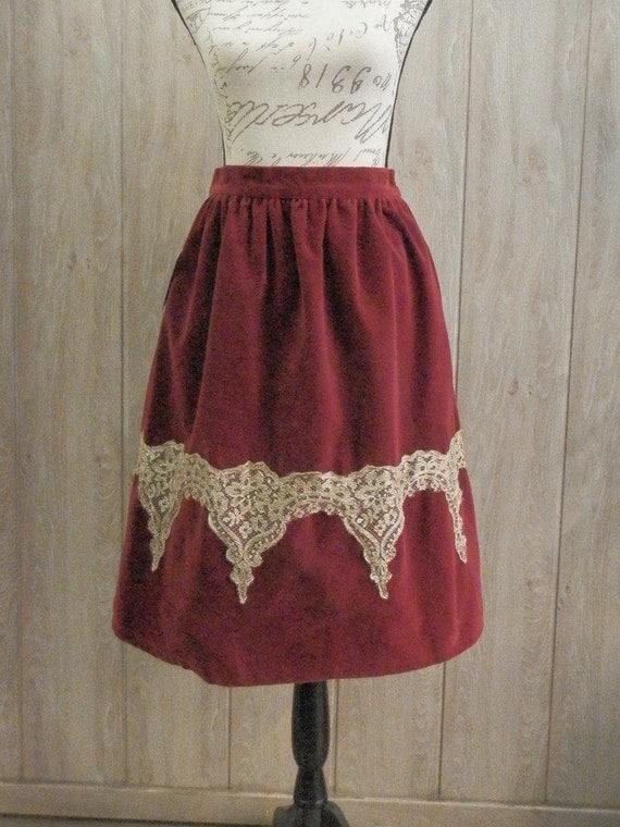 Red Velvet and Gold Skirt
