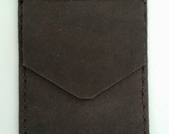 Dark Brown, Nubuck Leather, Pocket Protector, for mans shirt,handmade