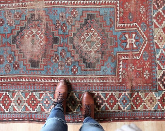 antique Kazak rug, rustic and worn bohemian rug, late 1800's geometric rug 4.1' x 7'