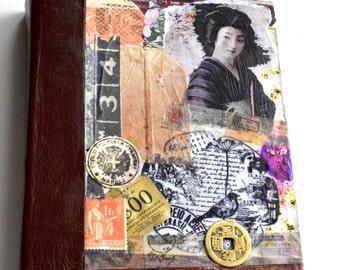 Leather Collaged Sketchbook, Altered Sketchbook, Mixed Media Sketchbook