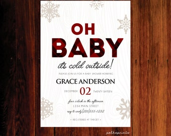 Baby it's cold outside Baby Shower invitation, plaid baby shower invitation -digital invitation