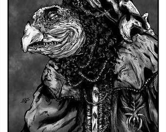 Skeksis Portrait - The Chamberlain - Dark Crystal Artwork - Dapper Monsters Illustration Series