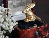 Gold rabbit necklace, gold rabbit charm necklace, gold hare necklace, gold bunny necklace, woodland jewellery