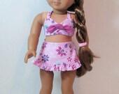 "1940s Era Aloha Swimsuit and Hair Flower for 18"" Dolls"