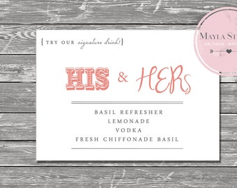 His and Her Drink Sign - Print your own