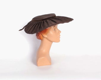Vintage 50s Platter HAT / 1950s Dark Espresso Brown Structured Saucer Hat